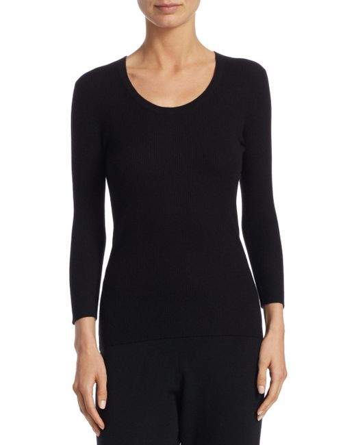 Saks Fifth Avenue - Black Collection Ribbed Cashmere Scoopneck Top - Lyst