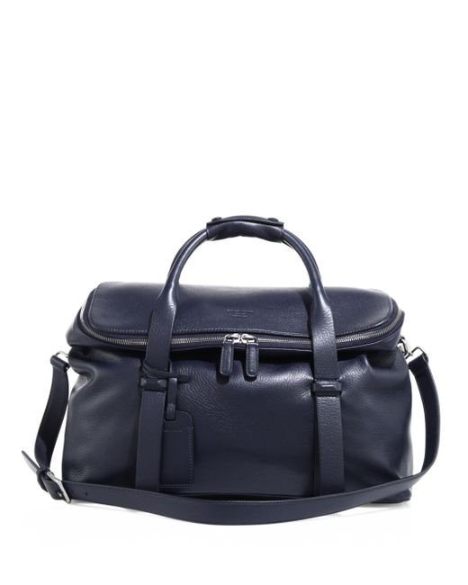 Giorgio Armani | Blue Large Leather Weekend Bag for Men | Lyst
