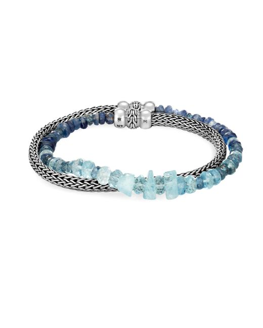 John Hardy - Blue Classic Chain Silver, Aquamarine & Kyanite Double Wrap Bracelet - Lyst