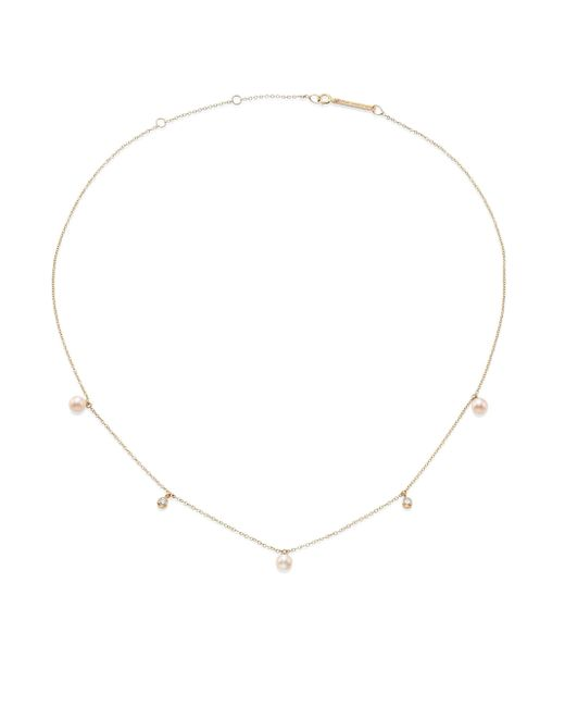 Zoe Chicco - Metallic 4mm White Freshwater Pearl, Diamond & 14k Yellow Gold Necklace - Lyst