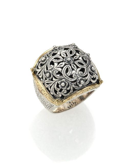 Konstantino - Metallic Classics 18k Yellow Gold & Sterling Silver Floral Filigree Ring - Lyst