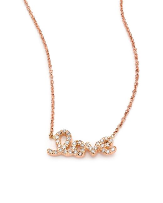 Roberto Coin | Pink Tiny Treasures Diamond & 18k Rose Gold Love Letter Necklace | Lyst