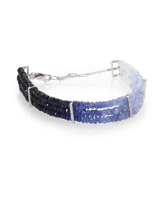Meira T | Blue Sapphire & 14k White Gold Ombré Three-row Beaded Bracelet | Lyst