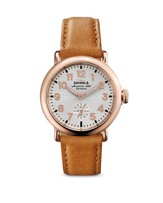 Shinola - Multicolor Runwell Rose Goldtone Pvd Stainless Steel & Leather Strap Watch - Lyst