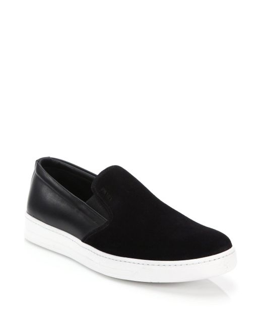 Prada - Black Mixed-media Leather & Suede Slip-on Sneakers for Men - Lyst