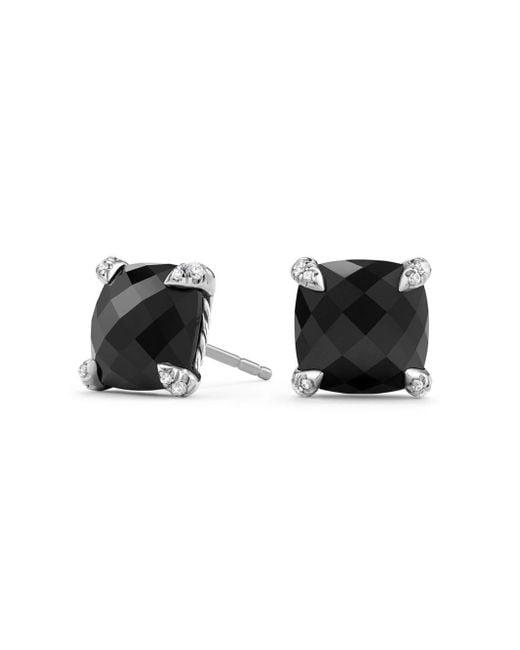 David Yurman - Black Chatelaine® Stud Earrings With Gemstone And Diamonds - Lyst
