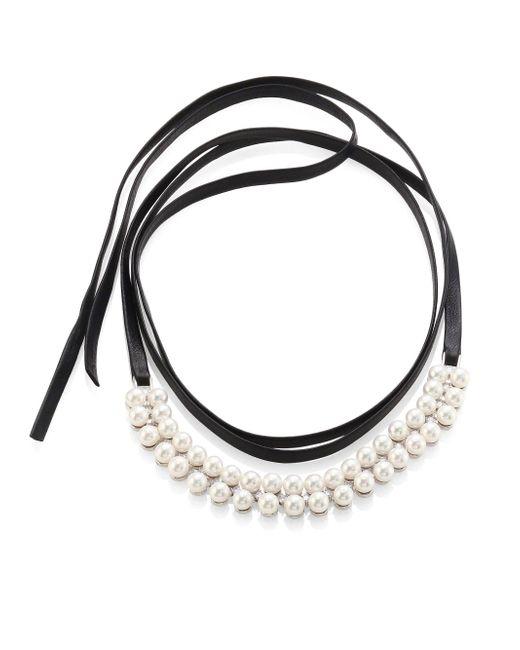 Fallon | Metallic Monarch Faux Pearl & Leather Wrap Choker | Lyst