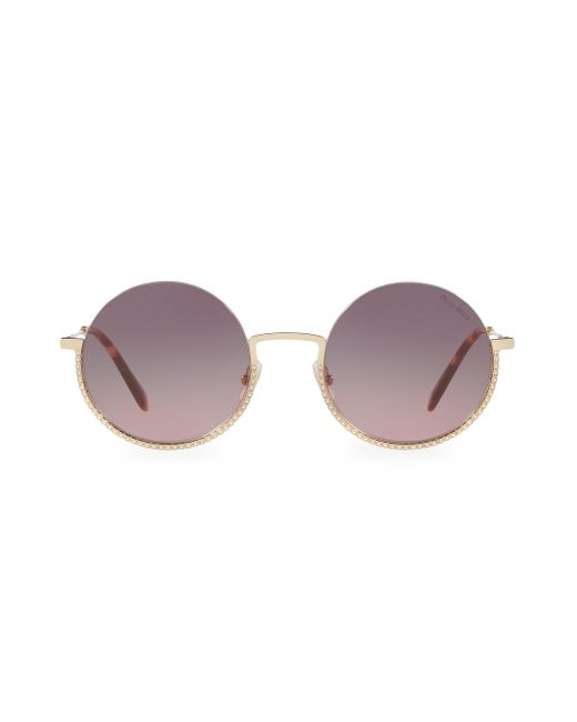 Miu Miu Multicolor 52mm Embellished Round Sunglasses