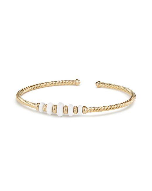 David Yurman - Metallic Rio Rondelle 18k Yellow Gold & White Agate Cabled Cuff Bracelet Bracelet - Lyst