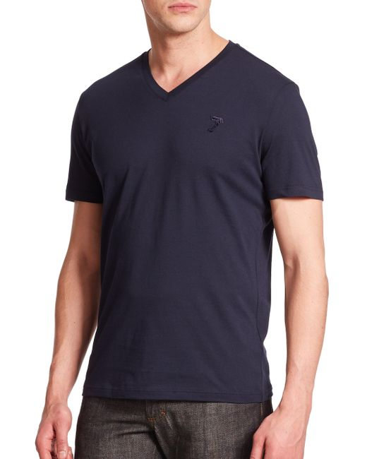Versace - Blue Cotton V-neck Tee for Men - Lyst