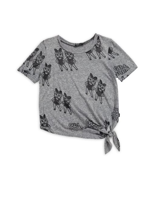 Terez - Gray Girl's Squad Tie Front Burnout Tee - Grey - Lyst
