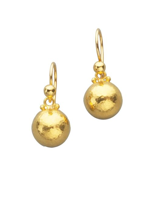 Gurhan - Metallic Amulet 24k Yellow Gold Dome Drop Earrings - Lyst