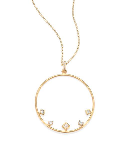 Zoe Chicco | Metallic Mixed Diamond & 14k Yellow Gold Circle Necklace | Lyst