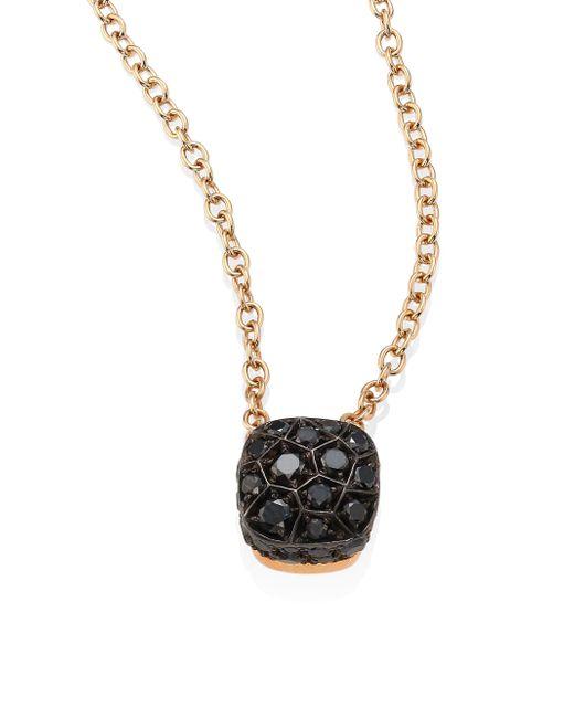 Pomellato | Sabbia Black Diamond & 18k Rose Gold Pendant | Lyst