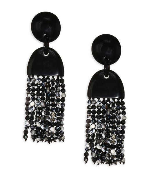 Nest - Black Horn & Agate Long Tassel Earrings - Lyst