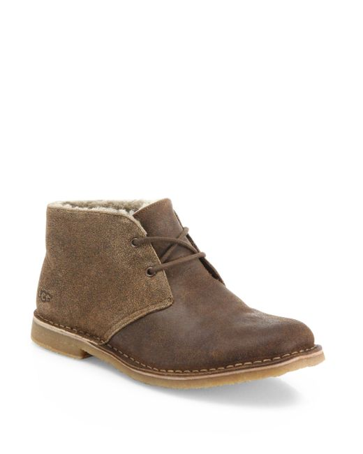 Ugg | Brown Leighton Bomber Suede Chukka Boots for Men | Lyst