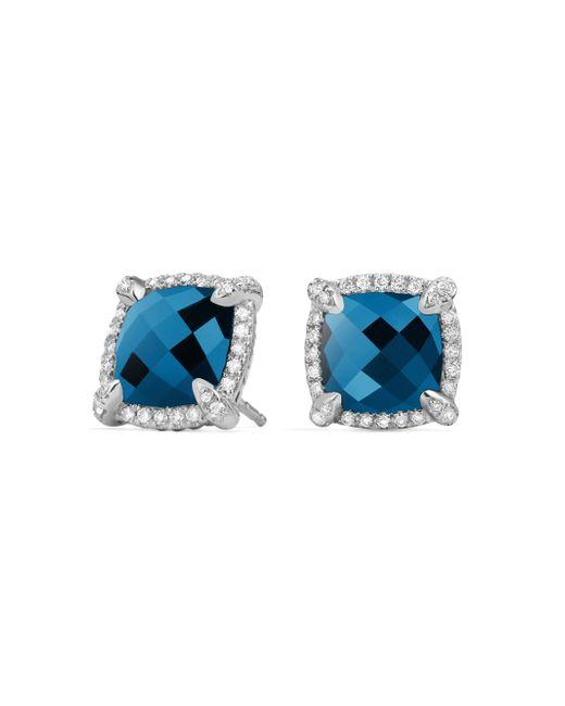 David Yurman - Blue Chatelaine Pave Bezel Stud Earring With Gemstone And Diamonds - Lyst
