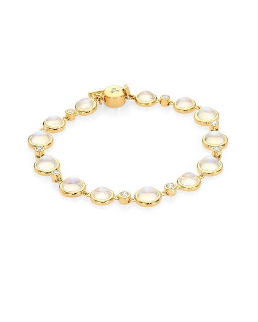 Temple St. Clair | Metallic Single Round Diamond, Royal Blue Moonstone & 18k Yellow Gold Bracelet | Lyst