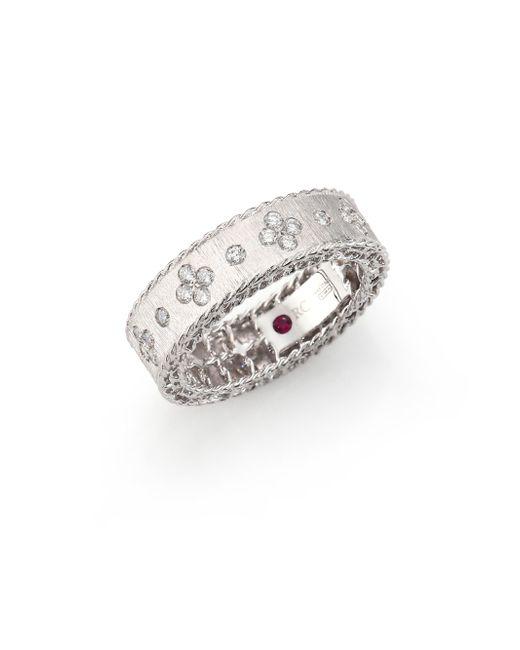Roberto Coin - Metallic Princess Diamond & 18k White Gold Band Ring - Lyst