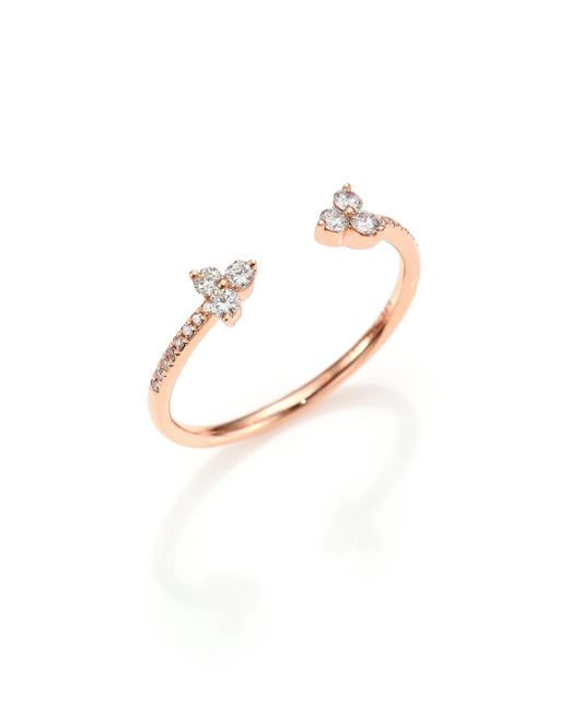 EF Collection - Metallic Open Diamond & 14k Rose Gold Ring - Lyst
