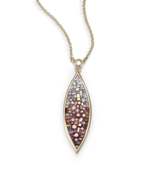 Plevé | Metallic Raspberry Diamond & 18k Yellow Gold Ombre Marquis Pendant Necklace | Lyst