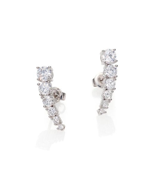 Adriana Orsini | Metallic Sterling Silver Brilliant-cut Bar Earrings | Lyst