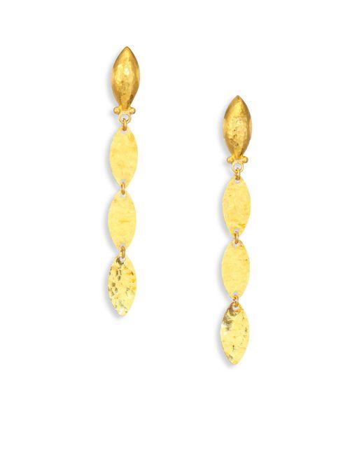 Gurhan - Metallic Willow 24k Yellow Gold & Sterling Silver Leaf Flake Linear Drop Earrings - Lyst