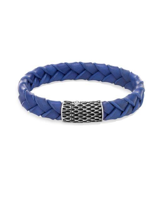 John Hardy - Legends Blue Woven Leather Bracelet - Silver - Size Medium for Men - Lyst
