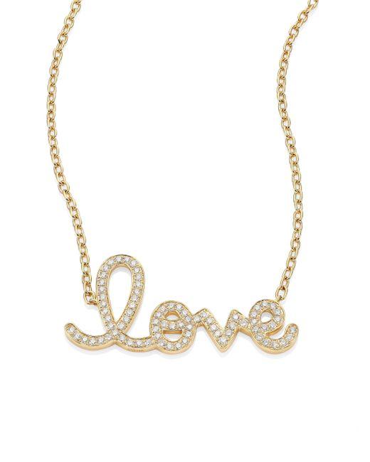 Sydney Evan | Metallic Large Love Diamond & 14k Yellow Gold Pendant Necklace | Lyst