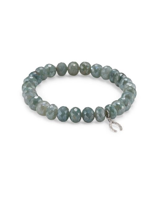 Sydney Evan | Wishbone Diamond & Blue Silverite Beaded Bracelet | Lyst