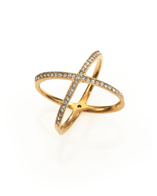 Michael Kors - Metallic Brilliance Statement Pave X Ring/goldtone - Lyst
