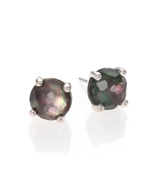 Ippolita - Metallic Rock Candy Black Shell, Clear Quartz & Sterling Silver Doublet Stud Earrings - Lyst