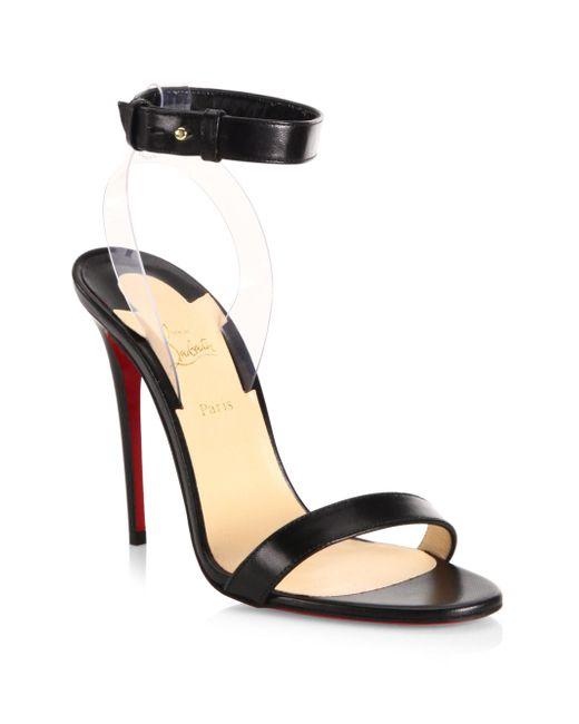 Christian Louboutin | Black Jonatina 100 Leather & Pvc Ankle-strap Sandals | Lyst