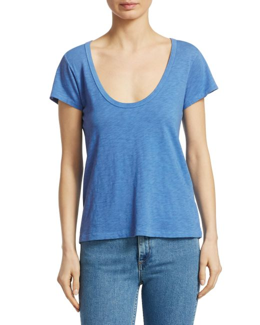 Rag & Bone - Blue Scoop Neck Tee - Lyst