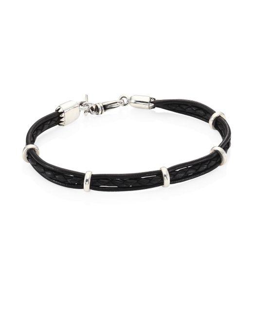King Baby Studio - Black Multi-strand Leather & Sterling Silver Bracelet - Lyst