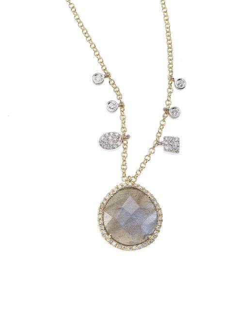 Meira T | Metallic Diamond, Blue Labradorite, 14k Yellow & White Gold Pendant Necklace | Lyst