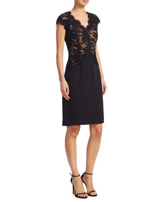 Reem Acra - Black Lace Cap-sleeve Sheath Dress - Lyst