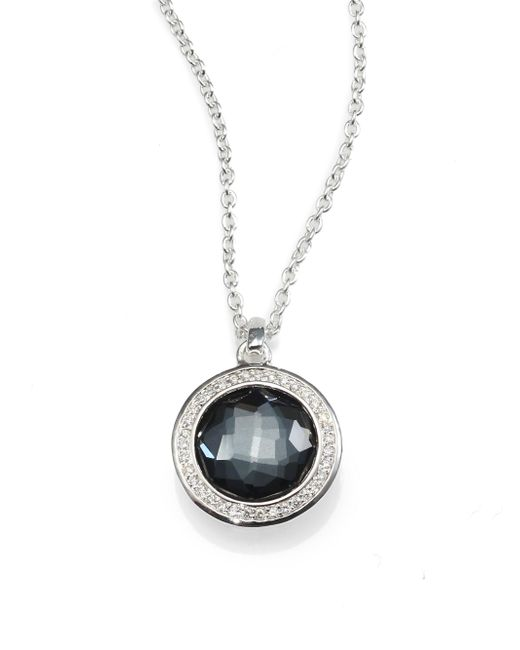 Ippolita - Gray Diamond, Gemstone Doublet & Sterling Silver Round Necklace - Lyst