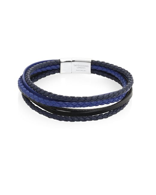 Tateossian - Blue Leather And Sterling Silver Bracelet - Lyst