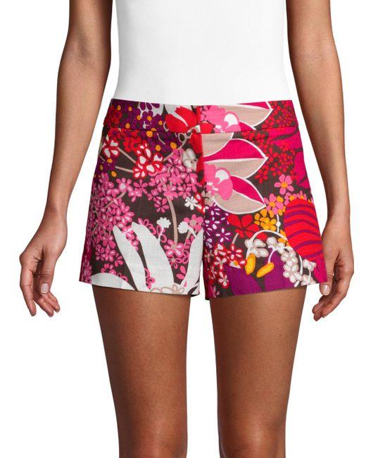 Trina Turk - Red Found In Translation Corbin Floral-print Shorts - Lyst