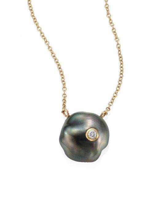 Mizuki | Gray Diamond, 10mm Grey Baroque Tahitian Pearl & 14k Yellow Gold Pendant Necklace | Lyst