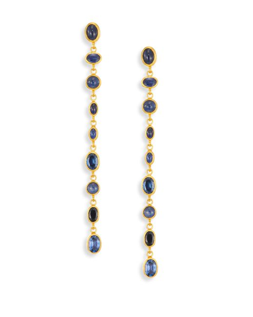 Gurhan - Metallic Amulet Hue Sapphire & 24k Yellow Gold Long Drop Earrings - Lyst