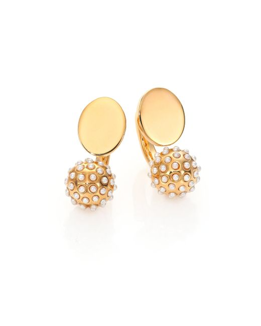 Chloé - Metallic Darcey Faux Pearl Sphere Arc Earrings - Lyst