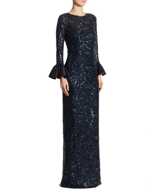 Teri Jon | Blue Sequined Bell Sleeve Gown | Lyst