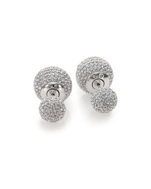 Adriana Orsini - Metallic Decadence Pave Crystal Ball Two-sided Earrings - Lyst
