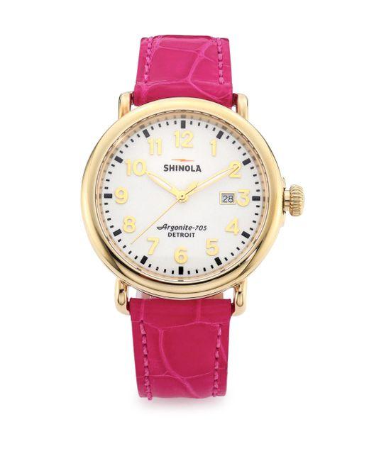 Shinola | Pink Runwell Goldtone Stainless Steel & Alligator Strap Watch | Lyst