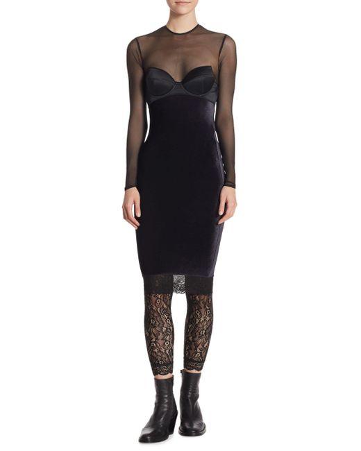 Faith Connexion - Black Mesh Bustier Dress - Lyst