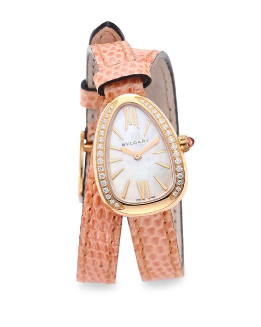 BVLGARI - Pink Serpenti Rose Gold & Diamond Double Twist Lizard Strap Watch - Lyst