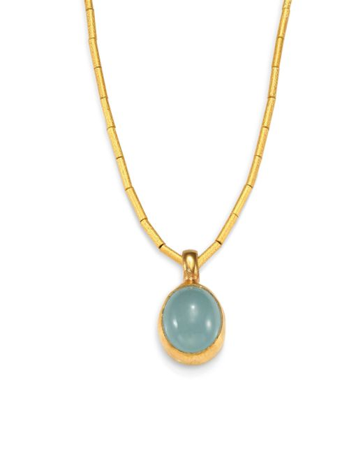 Gurhan - Blue Amulet Hue Opal & 24k Yellow Gold Pendant Necklace - Lyst