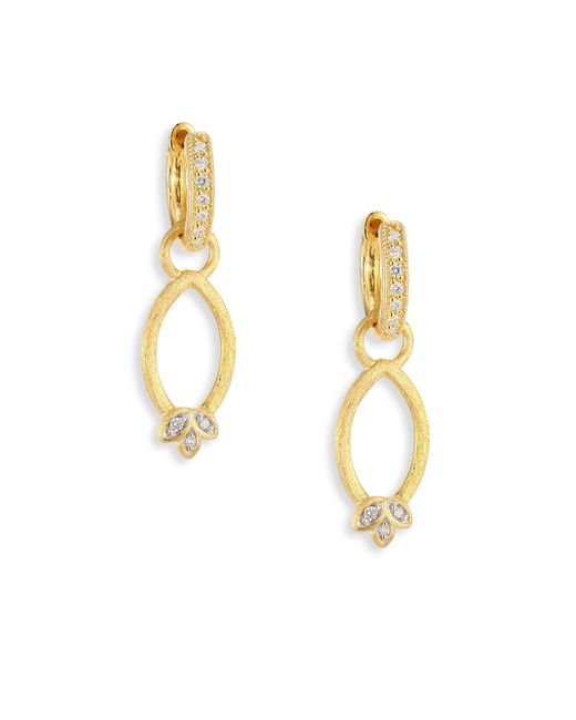 Jude Frances | Metallic Sonoma Simple Marquis Leaf Diamond & 18k Yellow Gold Earring Charms | Lyst